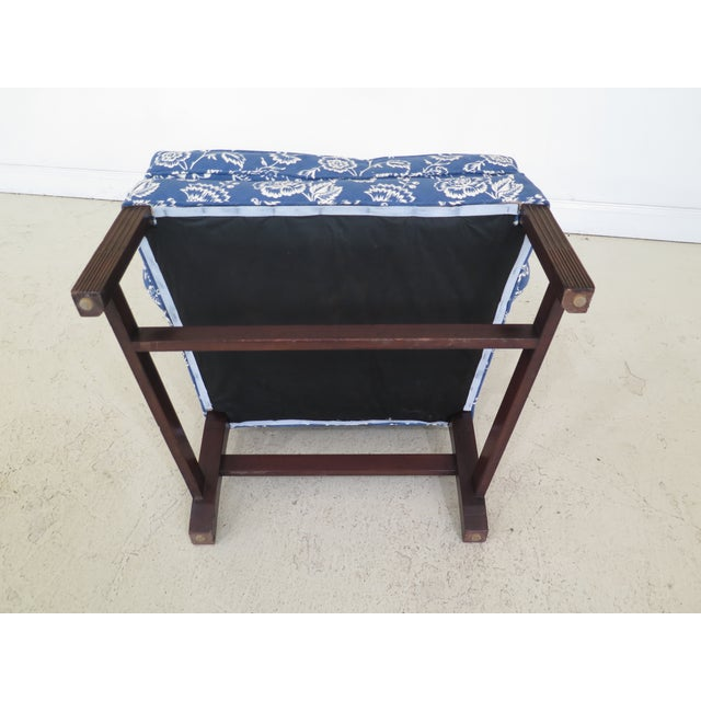 Mahogany Kittinger Cw-12 Colonial Williamsburg Blue Upholstered Mahogany Wing Chair For Sale - Image 7 of 13