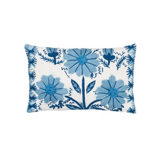 Schumacher Marguerite Embroidery II Pillow in Sky For Sale