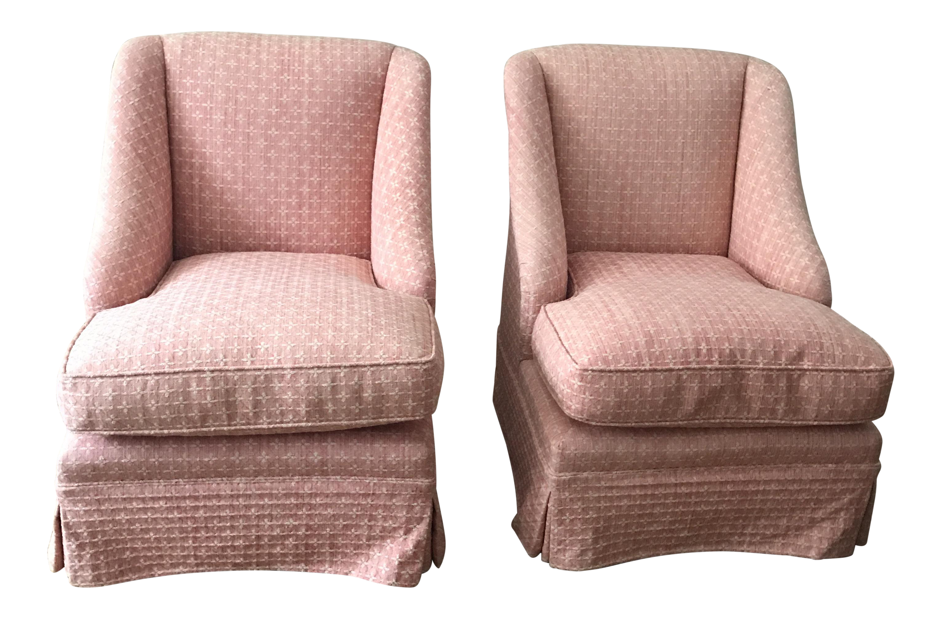 Vintage Billy Baldwin Style Pink Slipper Chairs  Pair