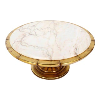 Hollywood Regency Gold Leaf Round Onyx-Top Coffee Table For Sale