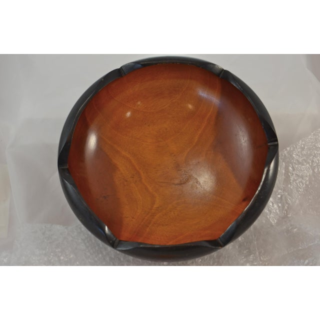 Mid Century Carved Two-Tone Wood Bowl For Sale - Image 4 of 7