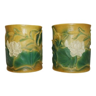 1950s Chinese Export Orchid Motif Brush Pots - a Pair For Sale
