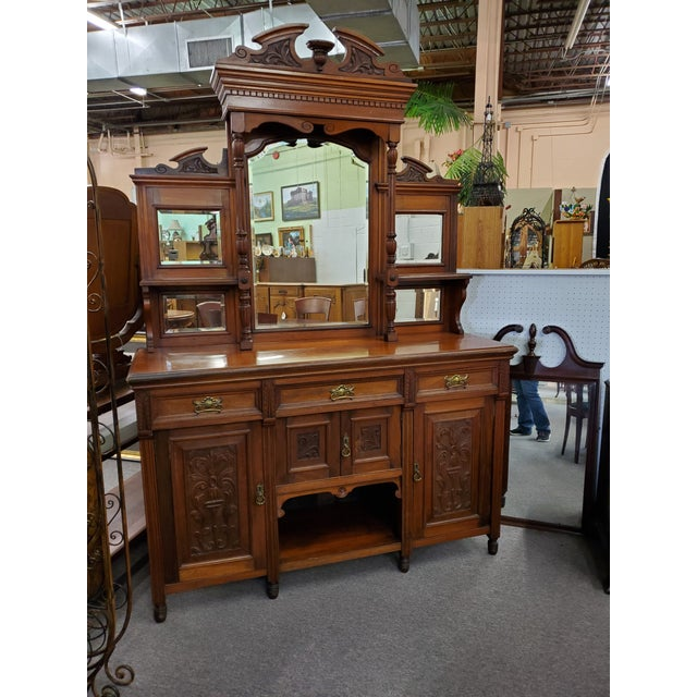 Early 20th Century Antique Hutch With Beveled Mirrors For Sale - Image 12 of 12