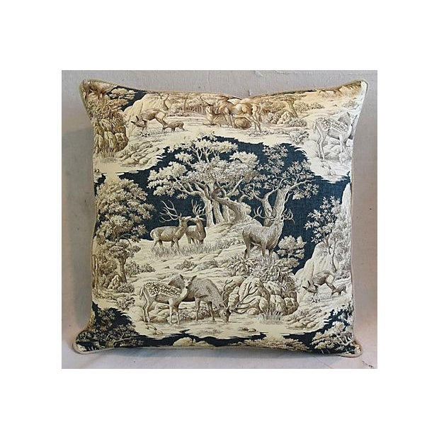 """Farmhouse 25"""" Custom Tailored Woodland Toile Deer & Velvet Feather/Down Pillows - Pair For Sale - Image 3 of 11"""
