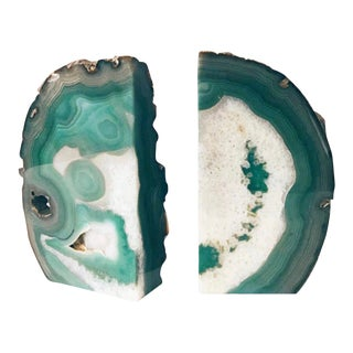 Green Geode Agate Bookends - a Pair For Sale