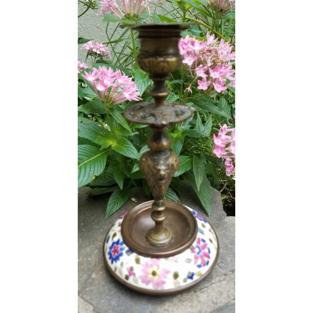 Continental Bronze & Porcelain Candlestick - Image 6 of 9