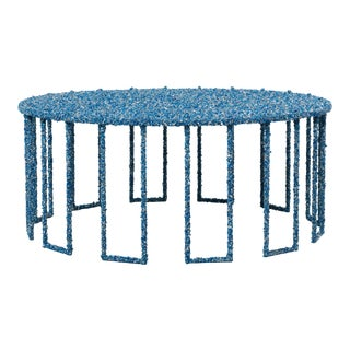 Hand Made Crushed Lapis Lazuli Coffee Table, by Samuel Amoia For Sale