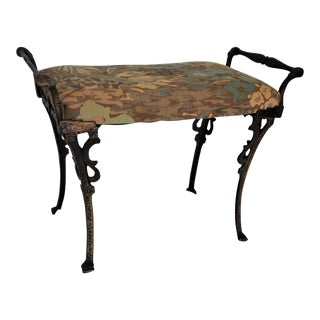 Mid Century Iron and Fabric Stool For Sale