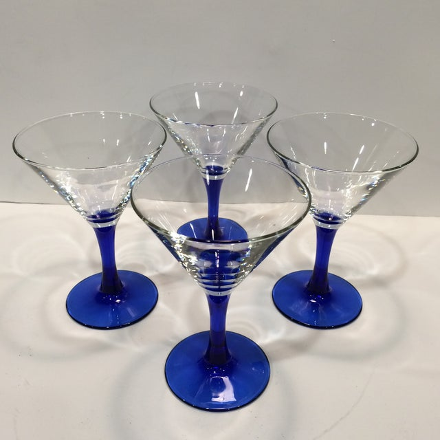 Vintage set of four blue Stemmed French Martini Glasses. Luminarc France mark on bottom.