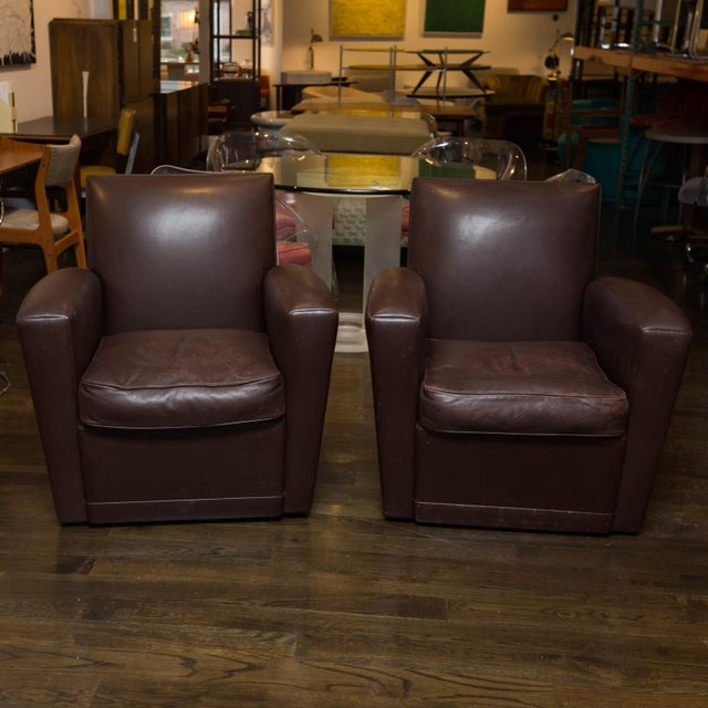 Holly Hunt Brown Leather Swivel Chairs For Sale - Image 5 of 11