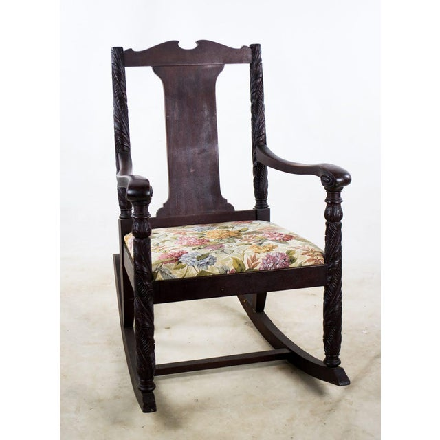 Bring sophistication to any corner of the room with this antique Victorian  hand carved rocking chair - Antique Aimone Mfg, Co. Victorian Hand Carved Rocking Chair Chairish