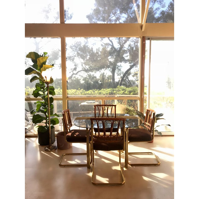 1970's Brass & Rattan Smoked Glass Dining Set - Image 7 of 7