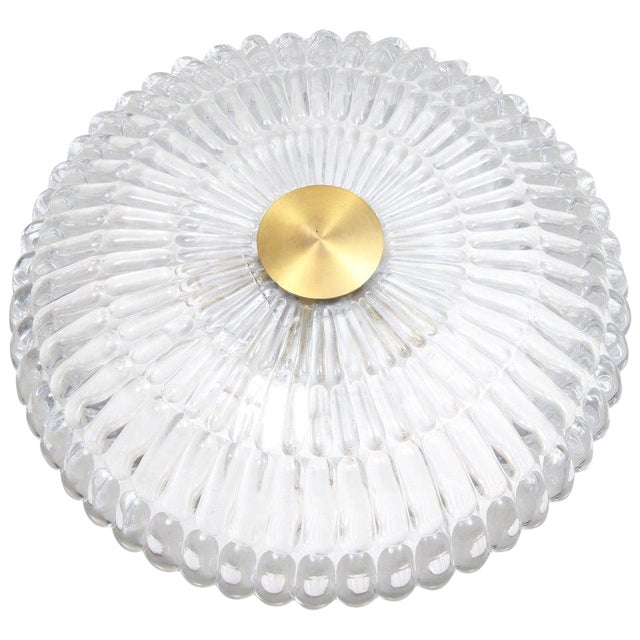 "A Ceiling Light by Carl Fagerlund for Orrefors, Sweden. Circa 1960th. Textured glass and brass. Diam. 15.75"". Existing..."