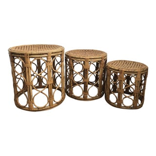 Bamboo and Rattan Drum Tables - Set of 3
