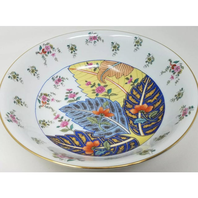 Mid century Seymour Mann porcelain tobacco leaf serving bowl. Vibrant colors with gold rim. Lovely used as chinoserie...