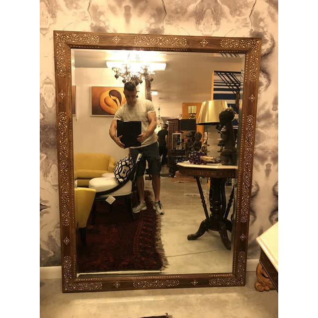 Wood Large Teak Mirror With Bone Inlay For Sale - Image 7 of 7