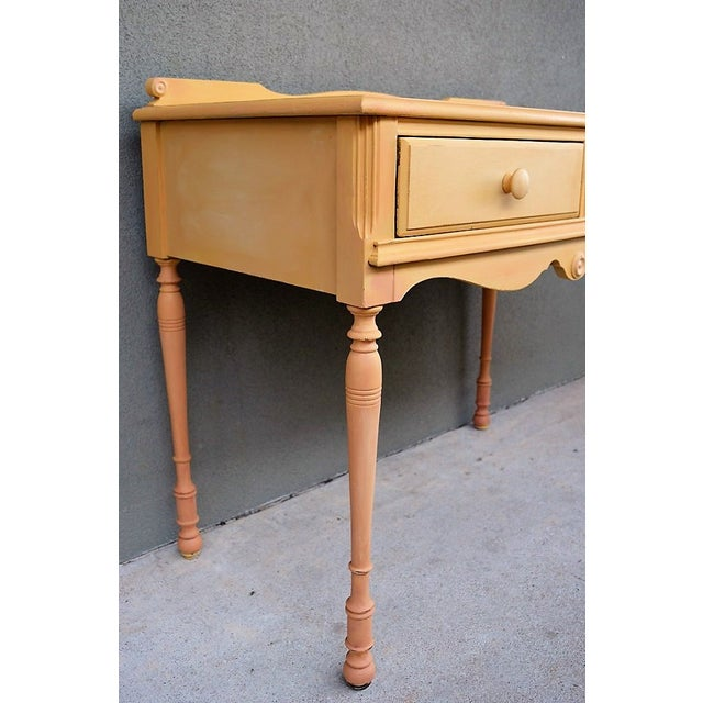 Paint 1910s Folk Art Yellow Painted Console Table With Decoupaged Drawers For Sale - Image 7 of 11