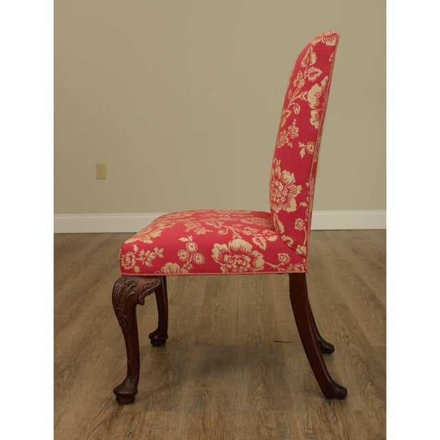 Georgian Style Custom Quality Carved Mahogany & Upholstered Set 10 Dining Chairs For Sale - Image 12 of 13
