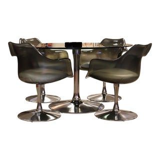 Mid-Century Modern Chromcraft Dining Table with Smoked Lucite Chairs - Set of 4