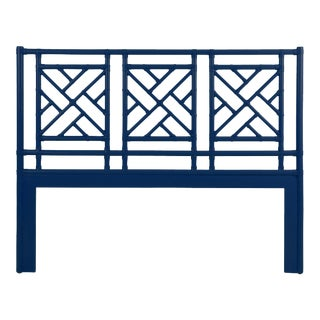 Chippendale Headboard Queen - Navy Blue For Sale