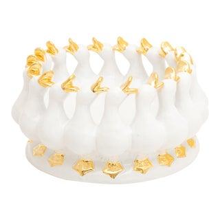 Merry Ducks Medium White And 24 Karat Gold, ND Dolfi For Sale