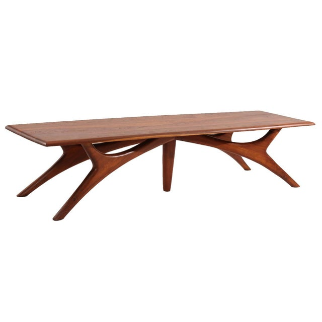 1950s 1950s Sculptural Solid Walnut Cocktail Table For Sale - Image 5 of 5