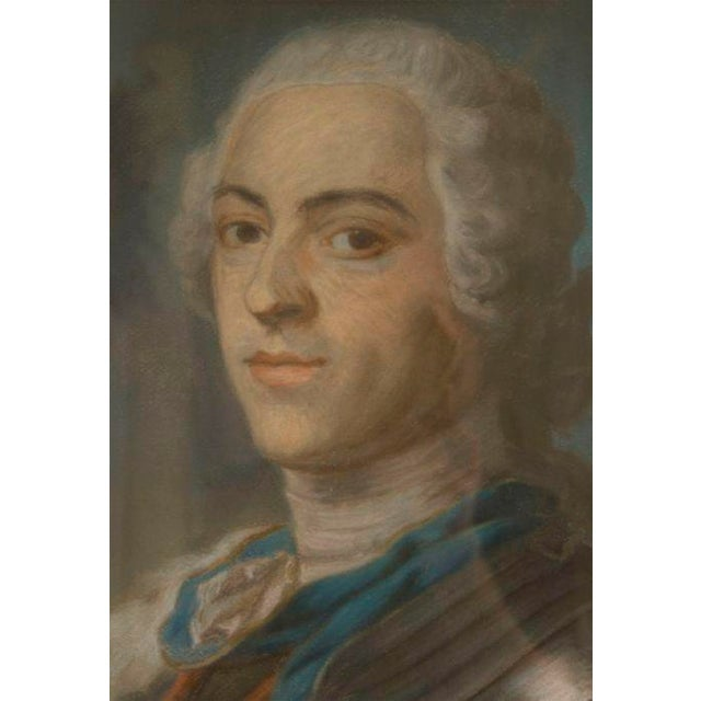 A rare and well done pastel portrait of Louis XV in an antique frame.