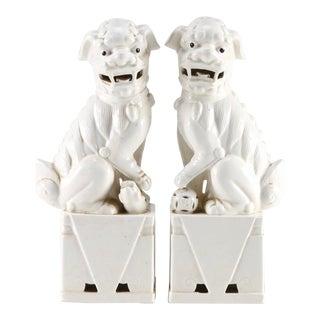 Antique Japanese Porcelain Guardian Lion Statues - a Pair For Sale