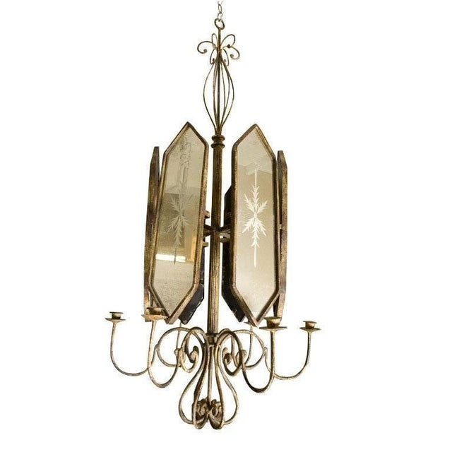 Lovely pair of Italian etched mirror panel hanging candlesticks lights. These pieces are beautiful examples of candlestick...