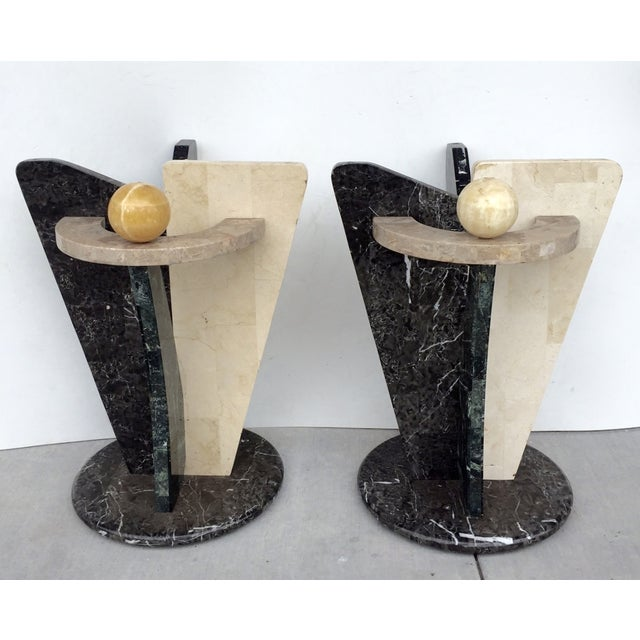 Multicolored Marble/Stone Side Tables - Pair - Image 2 of 7