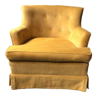 1970s Mid-Century Modern Yellow Tufted Lounge Chair For Sale
