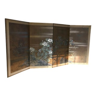 Japanese Hand Painted Folding Screen For Sale