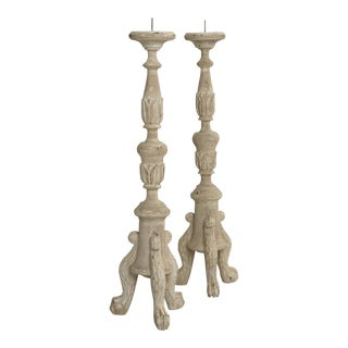 French or Italian Inspired Faux Painted Reproduction Candle Holders - a Pair For Sale