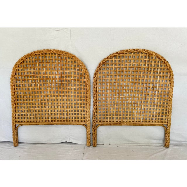 Vintage Woven Braided Rattan Headboards- a Pair For Sale - Image 13 of 13