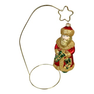 Vintage Christopher Radko Santa Ornament With Stand For Sale
