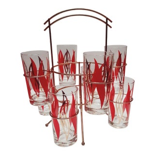 1950s Atomic Mid-Century Modern Glasses With Caddy - Set of 8 For Sale