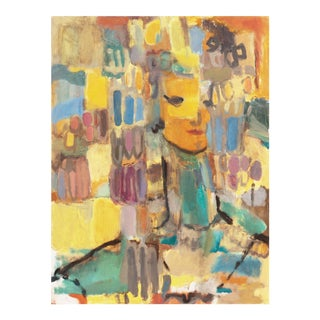'Lady in Yellow and Blue' by Dora Masters, San Francisco Art Association, Post-Impressionist California Woman Artist For Sale