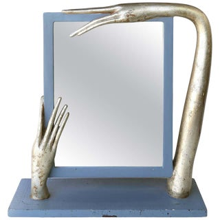 Surrealist Table Mirror in Carved Wood For Sale