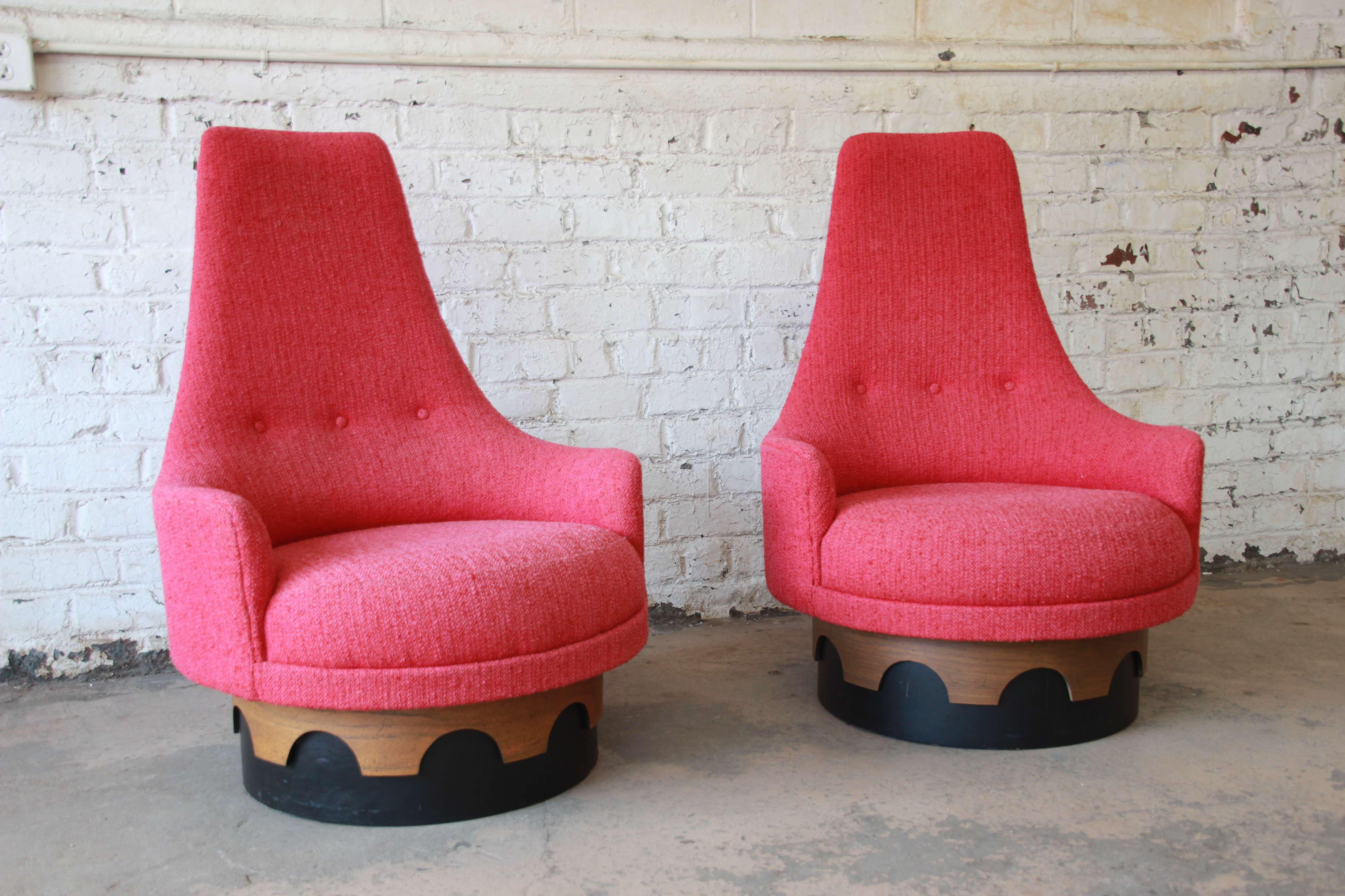 Craft Associates 1960s Vintage Adrian Pearsall High Back Swivel Chairs   A  Pair For Sale