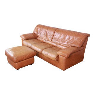 Roche Bobois Modern Brown Leather Sofa and Ottoman, France, 1970s For Sale