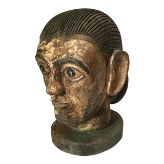 Handcarved Wooden Head Bust