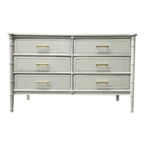 Gray Bamboo Transitional Dresser For Sale
