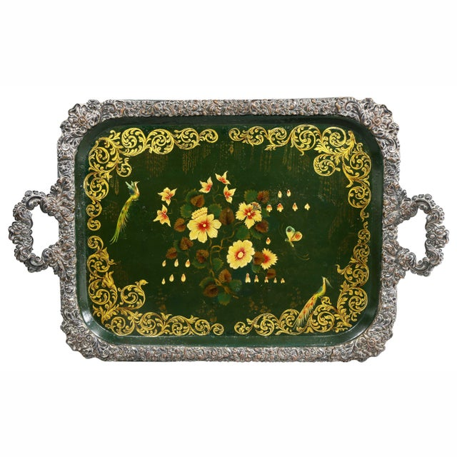 Traditional Victorian Papier Mache and Silver Plated Tray Table For Sale - Image 3 of 13