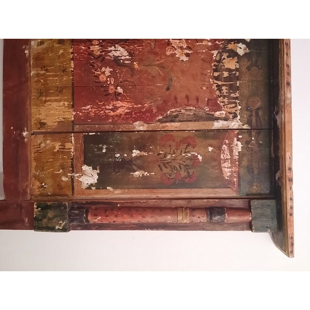 Antique Primitive Painted Red Headboard - Image 8 of 10