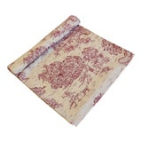 "Image of French Farmhouse Red & Cream Country Toile Table Runner 106"" Long For Sale"