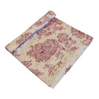 "French Farmhouse Red & Cream Country Toile Table Runner 106"" Long For Sale"
