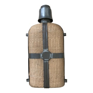 Late 19th Century Antique French Picnic Rattan Wrapped Flask For Sale
