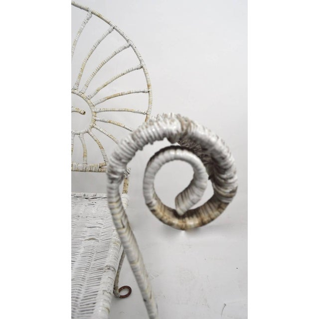 Mid-Century Modern Nautilus Shell Back Wicker and Iron Garden Bench For Sale - Image 3 of 11