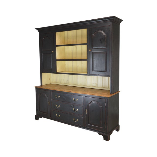 Monumental Custom Crafted Reproduction Country Painted Pine Step Back Hutch For Sale - Image 13 of 13