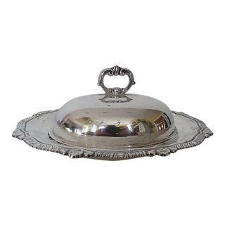 Silver Plate Oval Domed Butter Dish For Sale